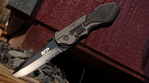 Smith & Wesson SWMP4LS 8.6in S.S. Assisted Folding Knife with 3.6in Serrated Clip Point Blade and Aluminum Handle for Outdoor Tactical Survival and EDC