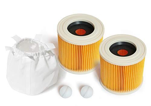 MI:KA:FI - 2 filtros de cartucho con 1 protector de filtro | para aspiradoras Kärcher multiusos + aspiradora en seco / húmedo | WD2 + WD3 + WD3.200 + WD3.300 M + WD3.500 P + SE 4001 + SE 4002