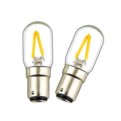 Luxvista BA15D Lampadina a bulbo a LED per macchina da cucire a baionetta COB Lampadina a forma di doppio contatto 2W 150LM Cool White 6000K AC 200-240V per lampade per elettrodomestici (2 pezzi)