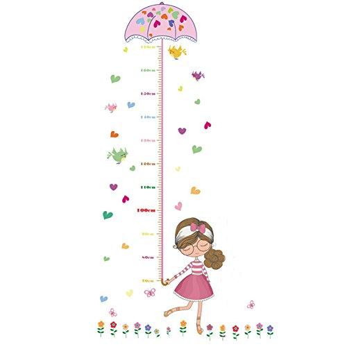 beiguoxia Cute Cartoon Girl Bird Flower Kinder Höhe Messlatte Wandtattoo Home Art Decor, PVC, rose, Einheitsgröße