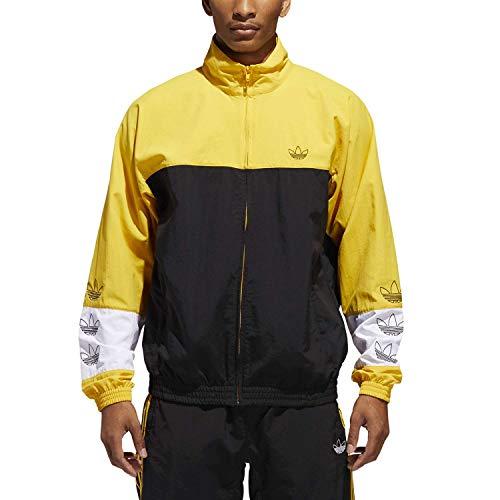 adidas Blocked Warm Up - Giacca a vento da uomo, Uomo, DV3118, Nero/giallo (negro/dorfue), S