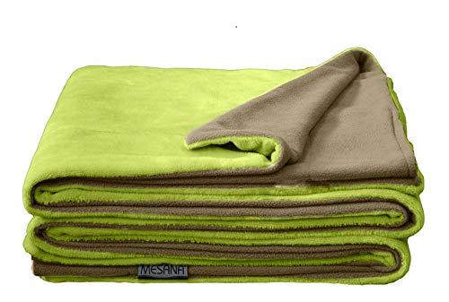 MESANA Wohndecke Decke Bella grün Wendeoptik Polyester Microfaser-Nicky Plüsch 150x200cm Tagesdecke Kuscheldecke Zudecke Sofadecke kuschelig warm
