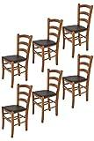 Tommychairs - Set 6 sillas Venice para Cocina y Comedor, Estructura en Madera de Haya Color Nuez Claro y Asiento tapizado en Polipiel Color Moka