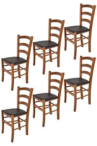 Tommychairs - 6er Set Stühle Venice für Küche und Esszimmer, Struktur aus lackiertem Buchenholz im Farbton helles Nussbraun und gepolsterte Sitzfläche mit Kunstleder in der Farbe Mokka bezogen