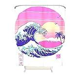 Cortina de ducha japonesa de gran onda vaporwave fresca y fácil cuidado cortinas de baño incluidos – Ukiyoe para baño de invitados blanco 200 x 200 cm