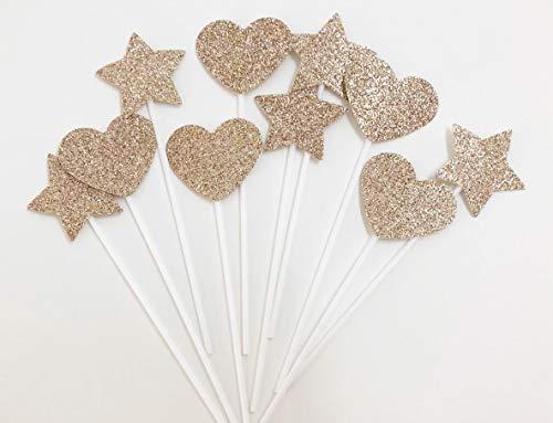 AILEXI Handmade 10 Counts Glitter Kuchen Topper zum Dekorieren von gefrorenen CupKuchen Zahnstochern - Champagner Gold 5 Herzen und 5 Sterne