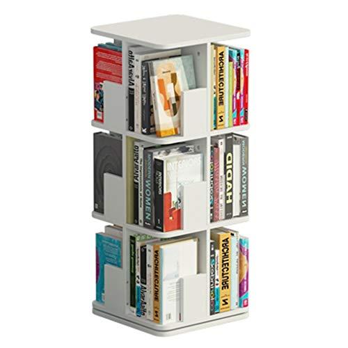 Librerías Estantería giratoria de 360 ° Estantería Simple Multicapa Estante de Almacenamiento en el Piso de Gran Capacidad Estantería para niños (Color : Blanco, Size : 3 Layers(97cm))
