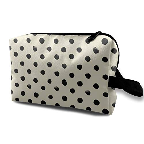 Bolsa de cosméticos de viaje, color negro sobre crema impermeable bolsa de maquillaje organizador bolsa de almacenamiento con cremallera de 4.8 pulgadas x 6.2 pulgadas x 10 pulgadas