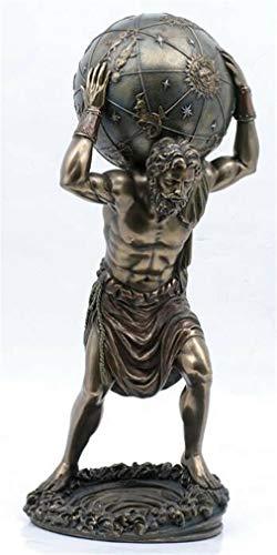 Ky & Co YesKela Greek Titan Atlas Holding Globe Earth Bronzelike Figurine Statue Olympian War