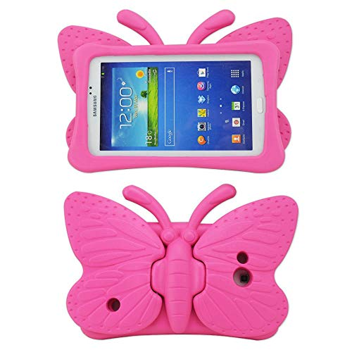 Tading Kids Case for Samsung Galaxy Tab 4 3 3 Lite 7.0 inch Tablet, Lightweight Shockproof EVA Foam Super Protection Stand Cover for SM T230 P3200 T110 (Not Fit Samsung Galaxy Tab 3 4 10.1 ) –Hot Pink