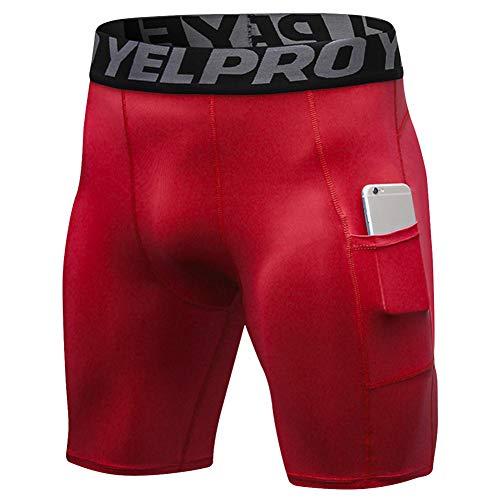 Shengwan Pantalones Cortos de Compresión Hombre Correr Gimnasio Mallas Cortos con Bolsillo Rojo L
