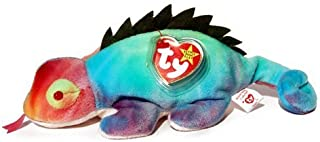 Ty Beanie Babies RAINBOW the Chameleon tye dye Iguana (With Iggy tags, Frills on Back, and Has Tongue)