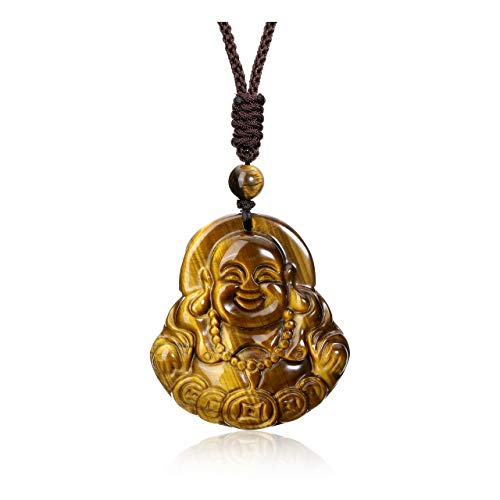 Top Plaza Men Tiger Eye Stone Laughing Maitreya Buddha...