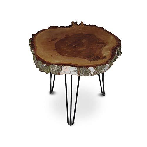 GREENHAUS Natürlich wohnen Couchtisch Baumscheibe, rustikaler Baumstamm Beistelltisch Birke, Anstelltisch mit Metallbeinen, Dekotisch Dreibein rund 50-55 cm mit Rinde