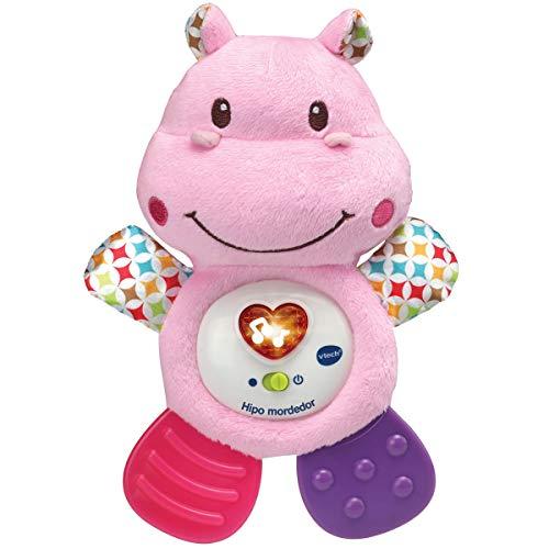 VTech Hipo Mordedor Hipopótamo de peluche musical y sonajero que ayuda a calmar y aliviar a tu bebe con tiernas frases, canciones y melodías, color rosa (3480-502557) , color/modelo surtido
