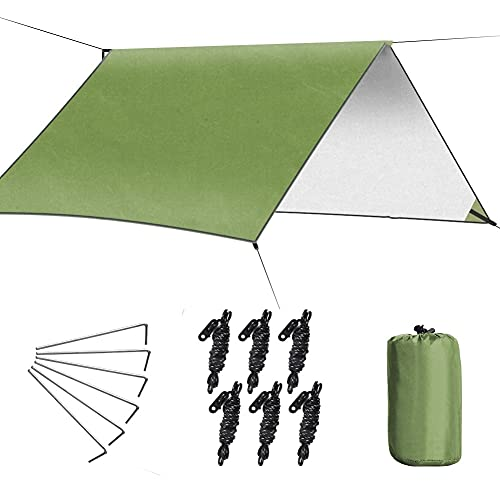 Biblt Rain Fly Tent Tarp, 3m*3m Hammock Cover, Portable Shelter set with...