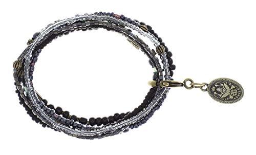 Konplott: Armband Petit Glamour d´Afrique black-messing, tolles Sammelarmband mit mehreren Kristallarmbändern in schwarz, für Damen/Frauen