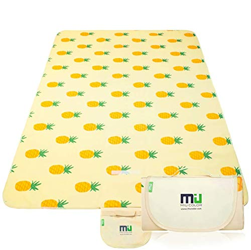 """MIU COLOR Large Waterproof Outdoor Picnic Blanket, Sandproof and Waterproof Picnic Blanket Tote for Camping Hiking Grass Travelling (80""""x 60"""" A Pineapple)"""