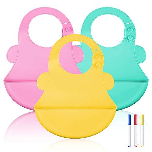 Lictin Baberos de Silicona de Bebe-Baberos Impermeables de Bebé con 3 Bolígrafo de Silicona Lavable, Hebilla Oculta Ajustable, Seguridad y Comodidad