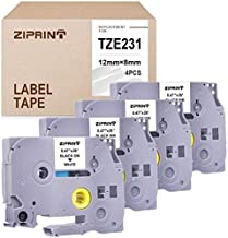 ZIPRINT 4-Pack TZe-231 Compatible with P-Touch TZ231 TZe231 TZ TZe P Touch Label Tape for PT-D210 PT-H100 PT-1880 PTD400AD PT-P700 Label Maker, Black on White, 0.47inch (12mm) x 8m (26.2ft)