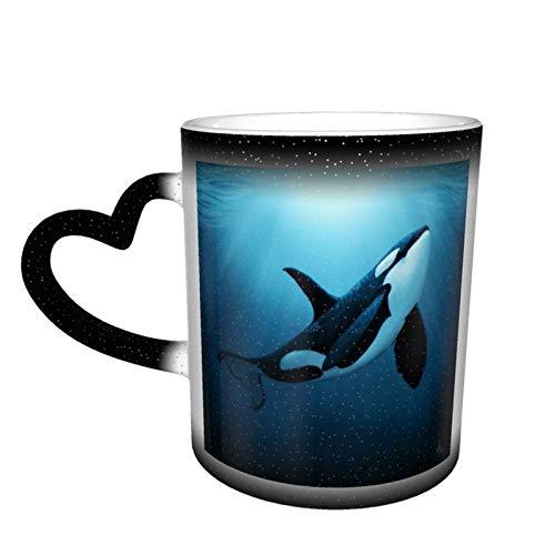 The Dreamer Orca wärmeempfindliche Farbwechsel-Tasse im Himmel, Kaffeebecher, Keramik-Tasse, personalisiertes Geschenk für Familie, Liebhaber und Freunde