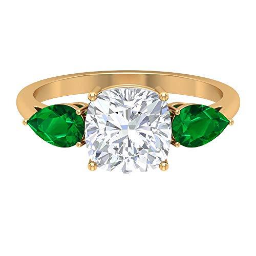 Anillo de moissanita de corte cojín de 8 mm, 4 x 6 mm, esmeralda creada en laboratorio, anillo de tres piedras, anillo de compromiso de oro de 10 quilates blanco