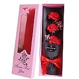 Meilily Nelke Rose Blumenstrauß Seife Blume mit Geschenkbox/Künstliche Bouquets Brautstrauß...