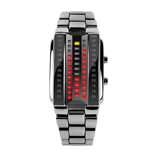 FeiWen Unico Binario Relojes de Pulsera de Hombre y Mujer Calendario Rojo LED Digitales Luminosidad Acero Inoxidable Negro Rectangular Fashion Casual Estilo Reloj, Plateado (Mujer)