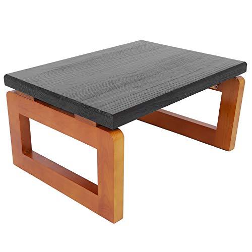 Couchtisch Holz Japanischer Tatami Tisch Vintage Klapptisch Zwergtabelle Teetisch Kaffeetisch Faltbar Beistelltisch Antike Fenstertisch für Schlafzimmer Wohnzimmer, 60x45x30cm, schwarz