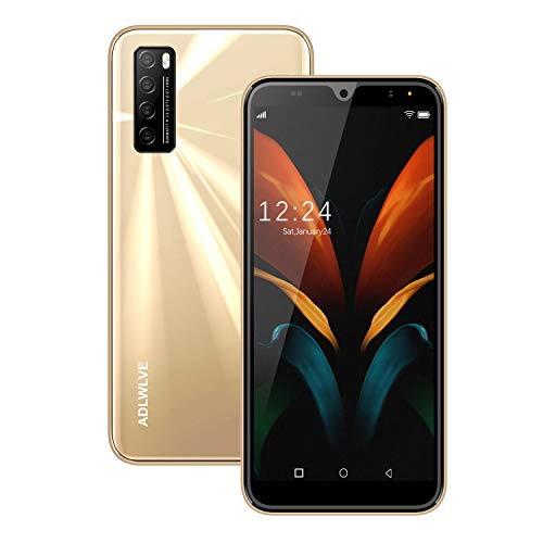 Moviles Libres Baratos 4G,6.3Pulgadas 3GB RAM 32GB ROM / 64GB Smartphone Libre Android 9.0 Face ID teléfonos móviles gratuitos, 8MP 4600mAh,Dual SIM Quad Core Moviles Buenos (Rojo) (Dorado)