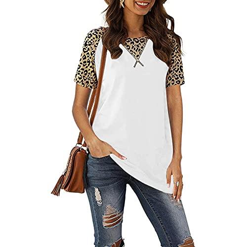 Primavera y Verano Camiseta de Cuello Redondo de Manga Corta con Estampado de Leopardo Jersey Informal Ropa de Mujer de Color sólido Delgado
