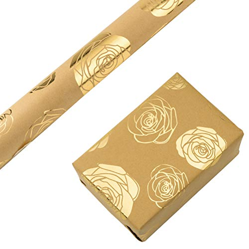 RUSPEPA Kraft Wrapping Paper Roll- Foil Gold Rose Design Wrapping Paper for Wedding, Birthday, Shower, Congrats 1 Roll - 30 Inch X 16 Feet