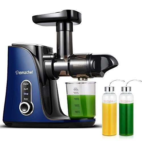 AMZCHEF Entsafter Slow Juicer leistungsstarker Entsafter für Obst und Gemüse mit 2 Geschwindigkeitsmodi, 2 Reiseflaschen (500 ml), LED-Anzeige, Reinigungsbürste und Ruhiger Motor (Blau)