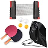 Woodtree Paleta de Ping Pong/Tenis de Mesa Raqueta Conjunto portátil del Ping-Pong paletas Conjunto de 2 con retráctil Tabla Neto de Pádel Set 8 Bolas Juego Profesional,Color:Orange (Color : Negro)