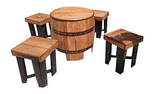 Dundee Massivholz Eiche Getränke Tisch & Stuhl Set Einzigartige handgefertigt Fass Möbel