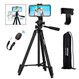 Mpow Phone Tripod, 53' Extendable Camera Tripod with Bluetooth 5.0 Remote & 360° Rotatable Phone Holder & Carry Bag, Lightweight Travel Phone Tripod Compatible with GoPro/iPhone 11/X/8/Galaxy A51