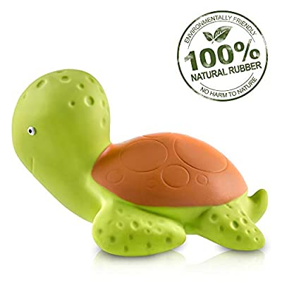 Pure Natural Rubber Baby Bath Toy - Mele the Sea Turtle - Without Holes, BPA, PVC, Phthalates Free, All Natural, Textured for Sensory Play, Sealed Bath Rubber Toy, Hole Free Bathtub Toy for Babies by CAAOCHO