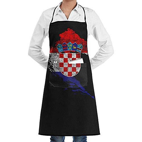 DearLord Delantal de cocina unisex con diseño de bandera y mapa de Croacia