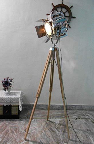 Nautical 1950'S Hollywood Studio Vintage Design Industrial Tripod Floor Lamp Silver