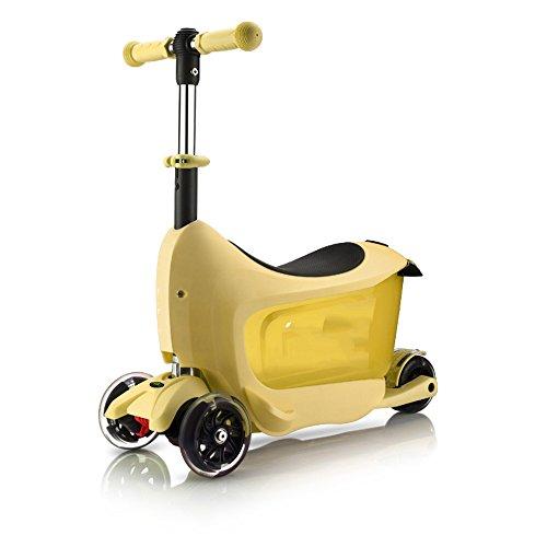 QFFL huabanche Roller kann sitzen DREI-in-one-Roller Vier-Rad-Flash-Kinderroller Schiebe Block 5 Farben Optional 62 * 30cm (Farbe : B)
