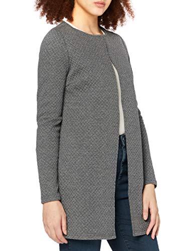 Vila Clothes Damen VINAJA New Long JKT Strickjacke, Grau (Medium Grey Melange), 42 (Herstellergröße: XL)