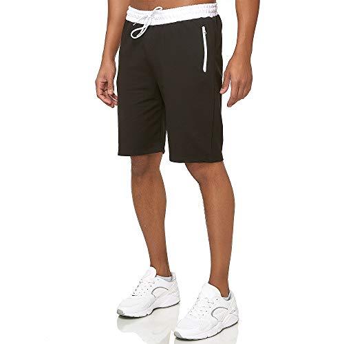 Smith & Solo Sporthose Herren Kurz - Kurze Hosen Herren, Laufshorts Männer Sommer Baumwolle Jogginghose Fitnesshose Sport Sportshorts Bermuda Shorts Hose Trainingshose Tennis (L, Sch-Weiß)
