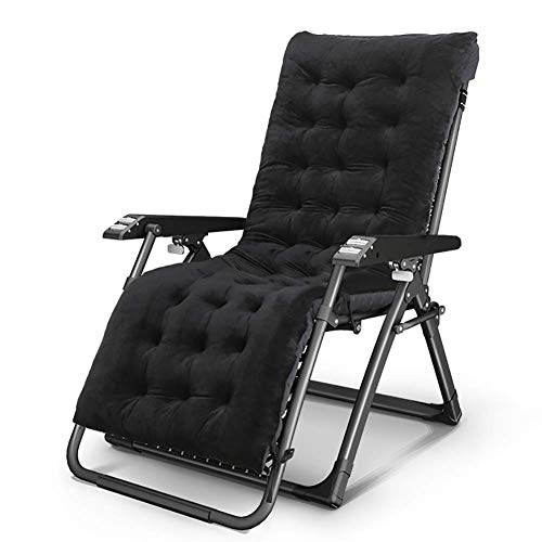 WENYAO Sillón reclinable Resistente para Patio con cojín Engrosado, Silla Plegable portátil de Gravedad Cero para Cubierta, Masaje con Ruedas (Color: Negro)