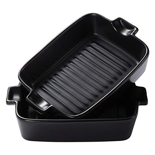 Bakeware Set,Single Handle Ceramic Baking Dish, Rectangular Baking Pan Ceramic Glaze Baking Dish for Cooking, Kitchen, Cake Dinner.Banquet and Daily Use, 2 PCS (Black) (9, Black)