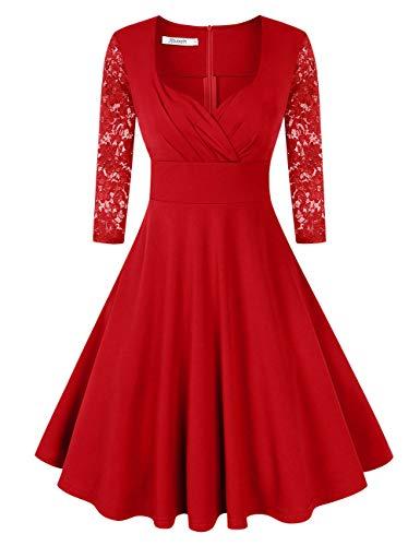KOJOOIN Damen 50er Vintage Kleid Retro/Cocktailkleid/Abendkleid/Ballkleid Rockabilly V-Ausschnitt...