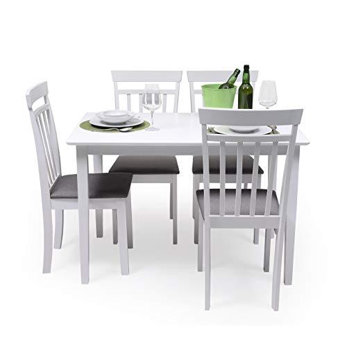 Conjunto de Comedor Kansas White Mesa de Comedor de Madera lacada en Blanco de 112x72 cm y 4 sillas de Comedor de Madera lacadas en Blanco y Asiento tapizado de Tela Gris