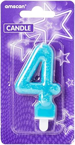 Amscan 99007657.6cm glitter numero 4candela di compleanno