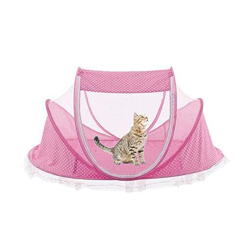 Luckything Kattenbed voor huis, kleine hondentent bed, draagbare opvouwbare huisdierentent, ideaal voor de zomer, huisdiercomfort, tent voor katten, roze