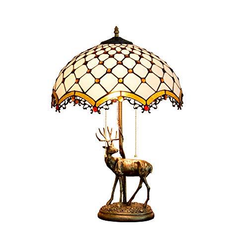 Lámpara de mesa Tiffany de 16 pulgadas Lámpara colgante barroca Escritorio de borla, Cuenta artesanal de vidrio de color ámbar, Lámpara de mesita de noche estilo sala de estar de estilo victoriano