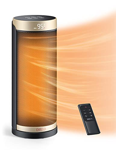 Dreo Space Heater for Indoor Use, 1500W Fast Heating Ceramic Electric Heater with Thermostat, Remote, Overheating & Tip-Over Protection, 1-12H Timer, 70° Oscillating Portable Heater for Office Bedroom